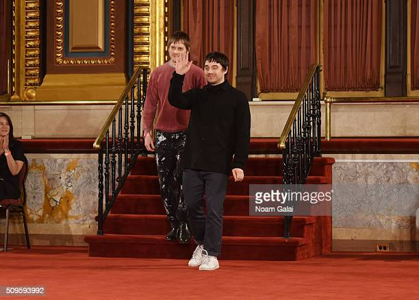 Designers Christopher Peters and Shane Gabier walk at the Creatures of the Wind fashion show during Fall 2016 New York Fashion Week on February 11...