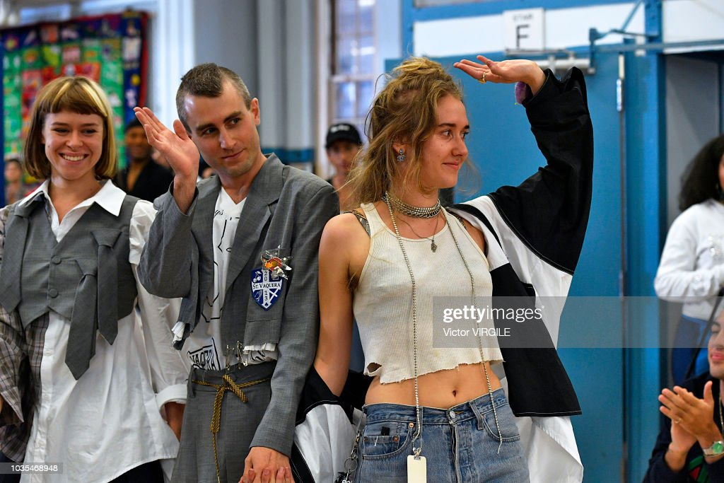 Designers Claire Sully, Bryn Taubensee and David Moses walk the runway at the Vaquera Ready to Wear Spring/Summer 2019 fashion show during New York Fashion Week on September 11, 2018 in New York City.