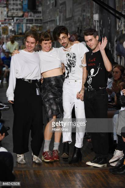 Designers Claire Sully Bryn Taubensee David Moses and Patric DiCaprio wave to the audience at the Vaquera fashion show during New York Fashion Week...