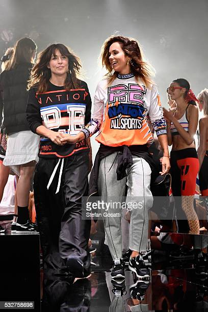 Designers Claire Tregoning and Pip Edwards walk on stage during the P.E Nation show at Mercedes-Benz Fashion Week Resort 17 Collections at...