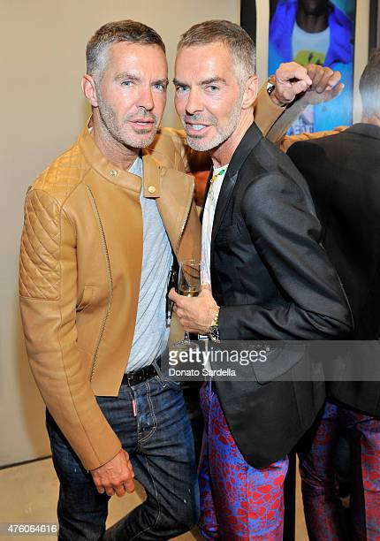 Designers Dan Caten and Dean Caten attend DSQUARED2 Los Angeles cocktail party and dinner hosted by Dean and Dan Caten on June 5 2015 in Beverly...