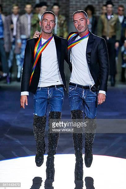 Designers Dan Caten and Dean Caten walk the runway at the Dsquared2 show during Milan Men's Fashion Week Spring/Summer 2017 on June 17 2016 in Milan...