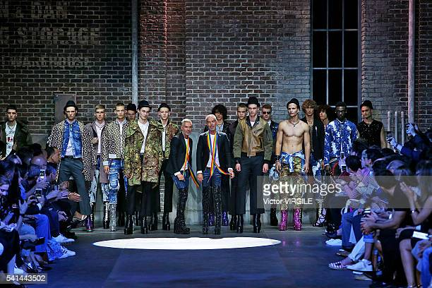 Designers Dan Caten and Dean Caten walk the runway at the Dsquared2 show during Milan Men's Fashion Week Spring/Summer 2017 on June 17 2016 in Milan...