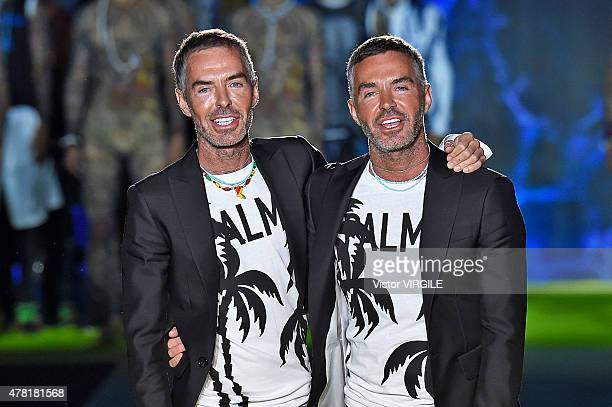 Designers Dan Caten and Dean Caten walk the runway during the DSquared2 Ready to Wear fashion show as part of Milan Men's Fashion Week Spring/Summer...
