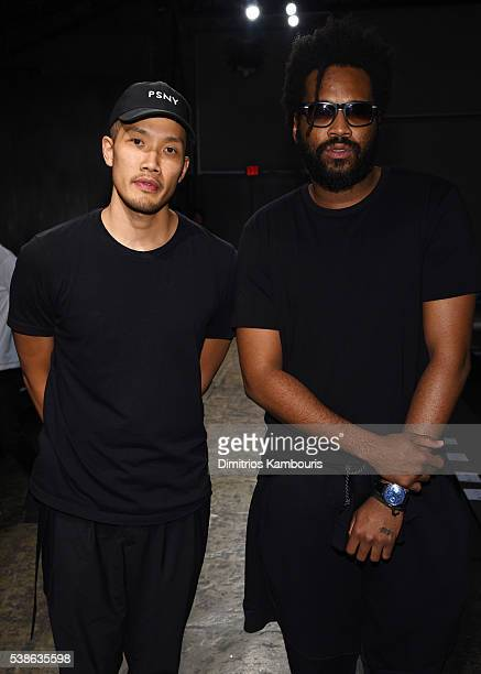 Designers DaoYi Chow and Maxwell Osborne attend Public School's Women's and Men's Spring 2017 collection at Cedar Lake on June 7 2016 in New York City