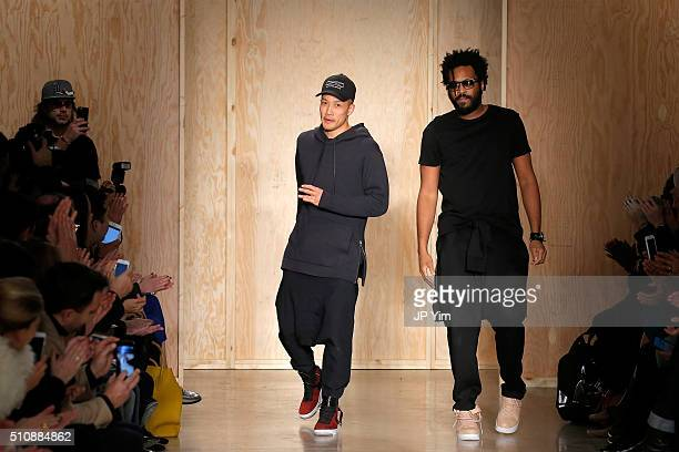 Designers DaoYi Chow and Maxwell Osborne walk the runway wearing DKNY Women's Fall 2016 during New York Fashion Week The Shows at Skylight Modern on...