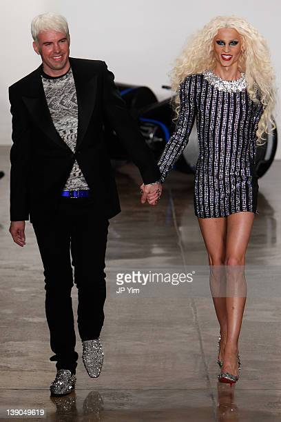 Designers David Blond and Phillip Blond walk the runway at the The Blonds Fall 2012 fashion show during Mercedes-Benz Fashion Week at Milk Studios on...