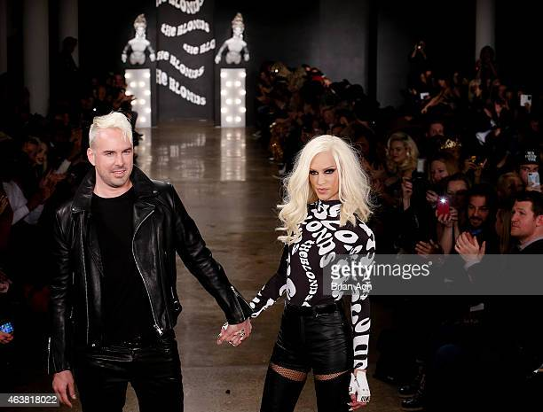 Designers David Blond and Phillipe Blond appear on the runway at The Blonds show during MercedesBenz Fashion Week Fall 2015 at Milk Studios on...