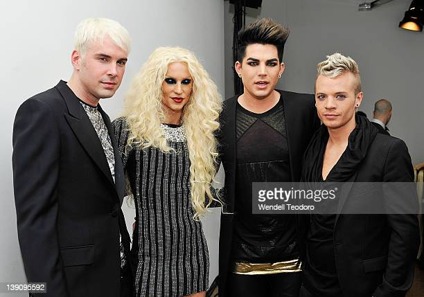 Designers David Blond and Phillipe Blond from the Blondes and Singer Adam Lambert and Sauli Koskinen attends the The Blonds Fall 2012 fashion show...