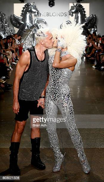 Designers David Blond and Phillipe Blond kiss on the runway at The Blonds fashion show during MADE Fashion Week September 2016 at Milk Studios on...