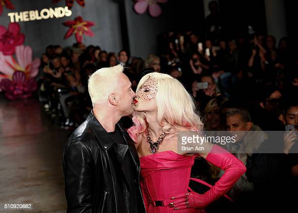 Designers David Blond and Phillipe Blond share a kiss on the runway duringThe Blonds runway show during Fall 2016 MADE Fashion Week at Milk Studios...