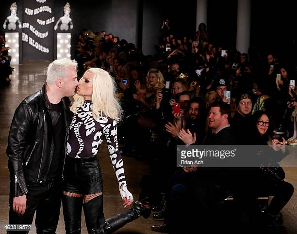 Designers David Blond and Phillipe Blond walk on the runway at The Blonds show during MercedesBenz Fashion Week Fall 2015 at Milk Studios on February...