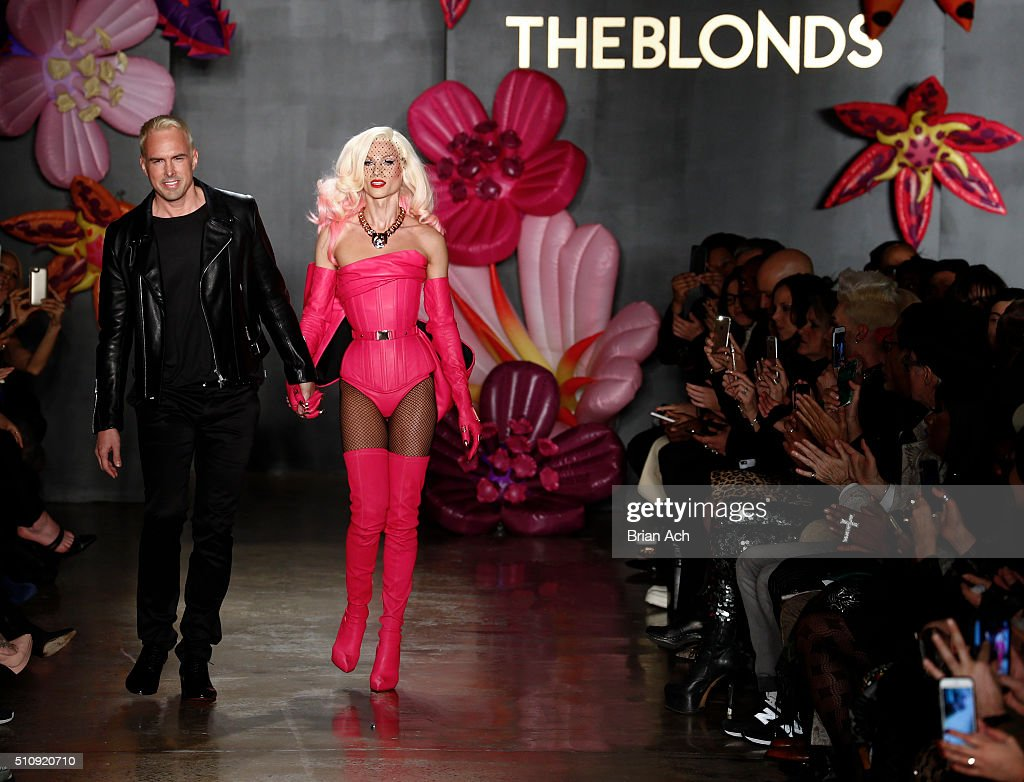 Designers David Blond and Phillipe Blond walk the runway duringThe Blonds runway show during Fall 2016 MADE Fashion Week at Milk Studios on February 17, 2016 in New York City.