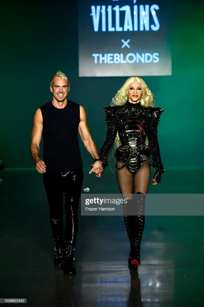 Designers David Blond and Phillipe Blond walk the runway for Disney Villains x The Blonds during New York Fashion Week: The Shows at Gallery I at Spring Studios on September 7, 2018 in New York City.