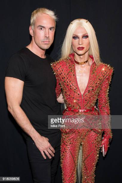 Designers David Blonde and Phillippe Blonde pose backstage at The Blonds fashion show during New York Fashion Week The Shows at Spring Studios on...