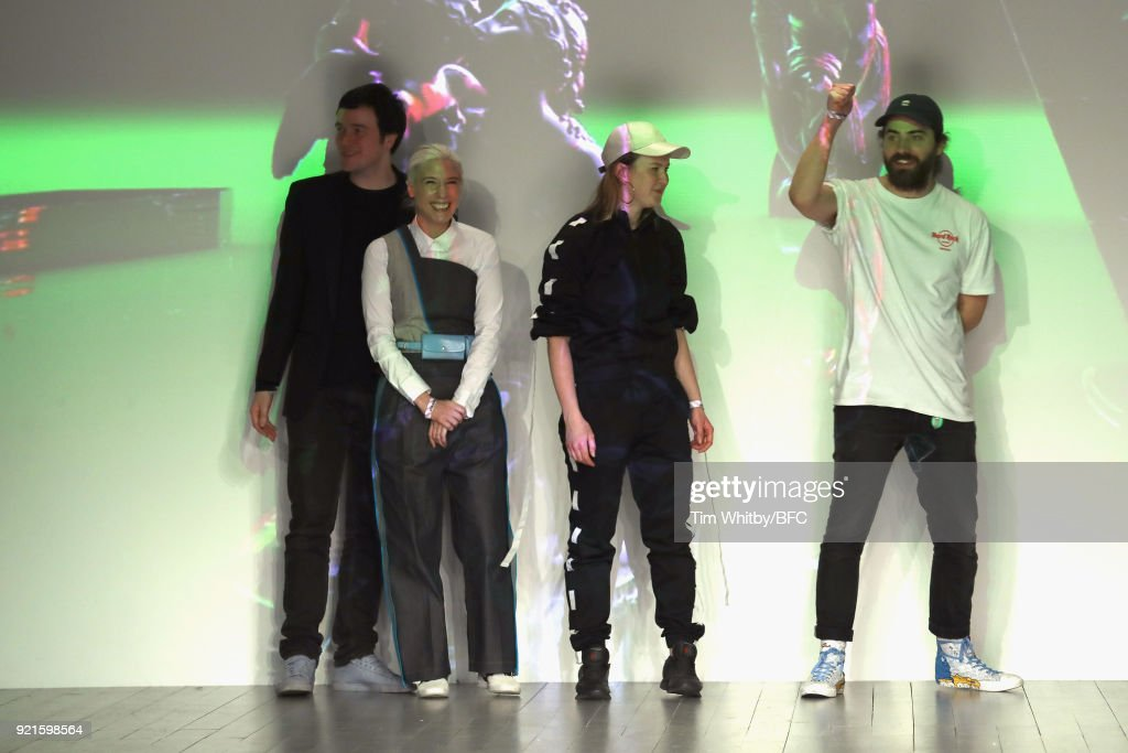 Designers David Longshaw, Kirsty Ward, Jenna Young and Joseph Standish are seen on the runway at the On|Off Presents show during London Fashion Week February 2018 at BFC Show Space on February 20, 2018 in London, England.