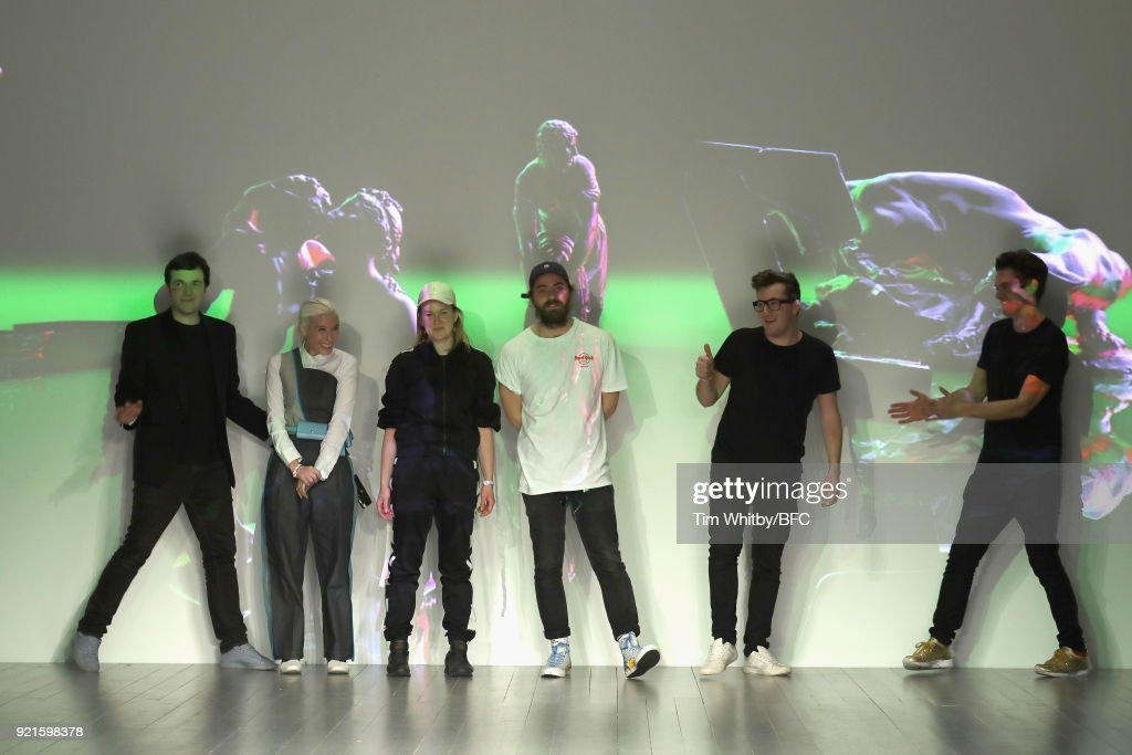 Designers David Longshaw, Kirsty Ward, Jenna Young, Joseph Standish and Jack Irving are seen on the runway at the On|Off Presents show during London Fashion Week February 2018 at BFC Show Space on February 20, 2018 in London, England.