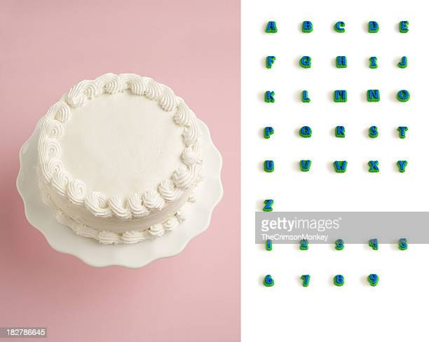 designer's decorate your own cake kit - birthday cake stock photos and pictures