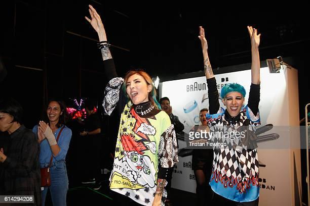 Designers Deniz Berdan and Begum Berdan backstage after the DB Berdan show during MercedesBenz Fashion Week Istanbul at Zorlu Center on October 13...