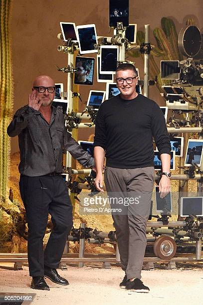 Designers Domenico Dolce and Stefano Gabbana walk the runway after the Dolce Gabbana show during Milan Men's Fashion Week Fall/Winter 2016/17 on...