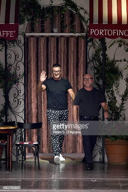 Designers Domenico Dolce and Stefano Gabbana walk the runwayafter the Dolce Gabbana fashion show as part of Milan Fashion Week Spring/Summer 2016 on...