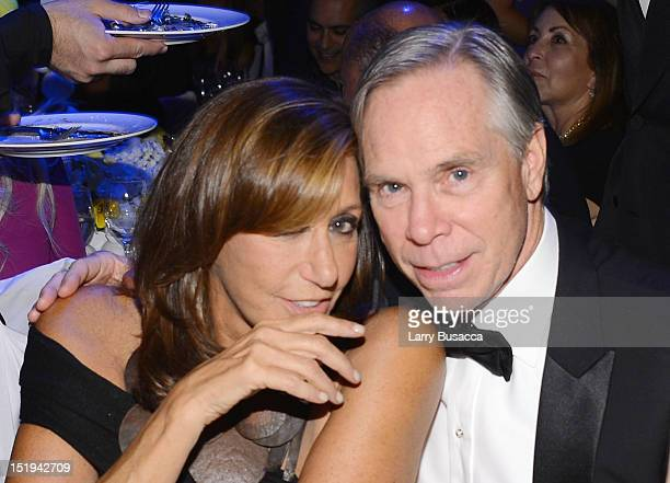 Designers Donna Karan and Tommy Hilfiger attend The Novak Djokovic Foundation's inaugural dinner at Capitale on September 12 2012 in New York City