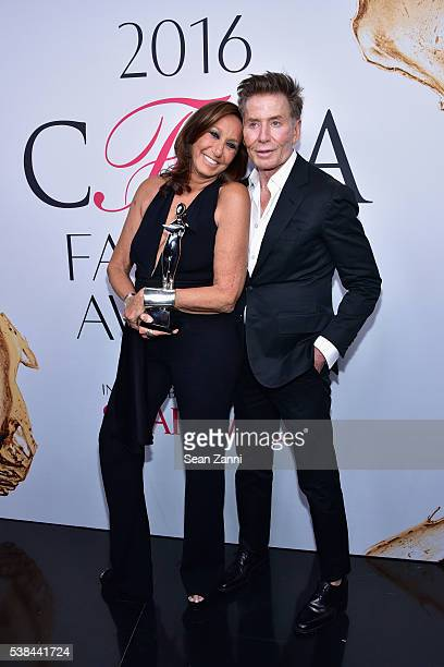 Designers Donna Karan winner of The Founder's Award in Honor of Eleanor Lambert award and Calvin Klein attend the 2016 CFDA Fashion Awards at...