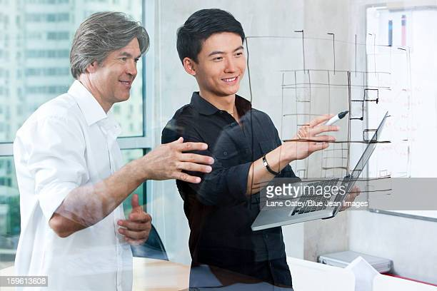 Designers drawing sketch on glass wall