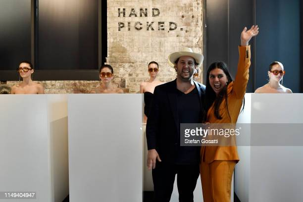 Designers Edward Baker and Samantha Stevenson pose during the Pared Eyewear show at Mercedes-Benz Fashion Week Resort 20 Collections at Handpicked...