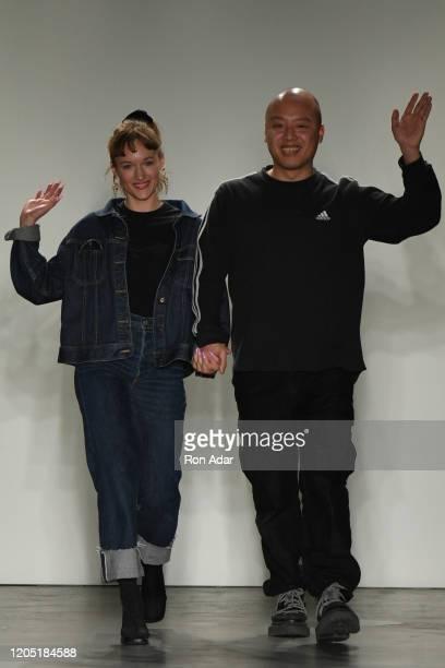 Designers Emilia Pfohl and Nan Li walk the runway at Namilia during New York Fashion Week at Pier 59 Studios on February 9 2020 in New York City