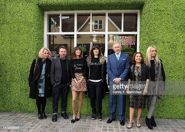 Designers Emma Cook and Justin Thornton host Alexa Chung designer Bella Freud Chairman of the British Fashion Council Harold Tillman Chief Executive...