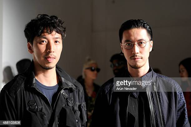 Designers Eri Chu and Philip Chu pose wearing Ground Zero Spring 2016 during New York Fashion Week: The Shows at The Space, Skylight at Clarkson Sq...