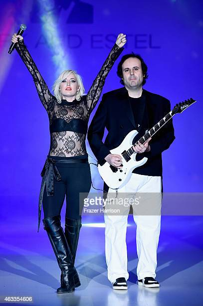 Designers Estel Day and Mark Tango perform on the runway at the Mark And Estel fashion show during Mercedes-Benz Fashion Week Fall 2015 at The Salon...