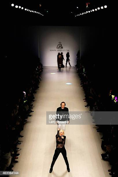 Designers Estel Day and Mark Tango perform on the runway at the Mark and Estel fashion show during Mercedes-Benz Fashion Week Fall 2015 on February...