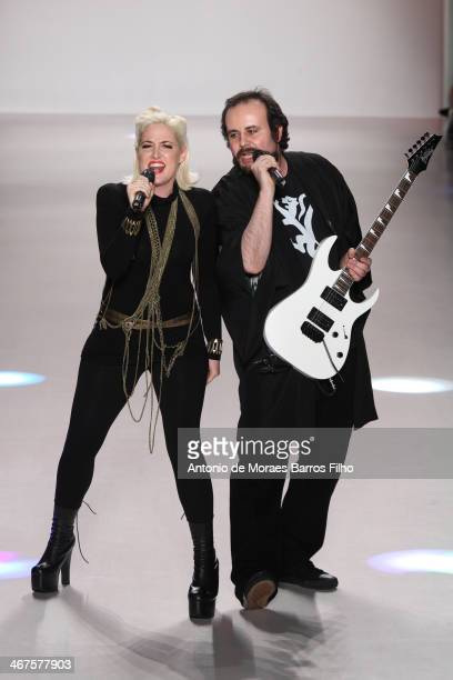 Designers Estel Day and Mark Tango pose on runway during the Mark And Steel fall 2014 fashion show on February 6, 2014 in New York City.