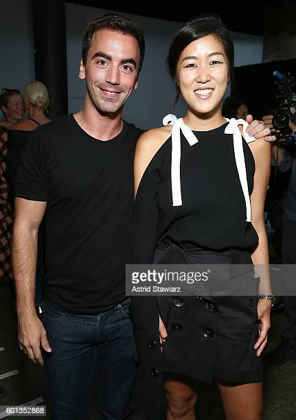 Designers Fernando Garcia and Laura Kim attend backstage at Monse September 2016 New York Fashion Week at Art Beam on September 9 2016 in New York...