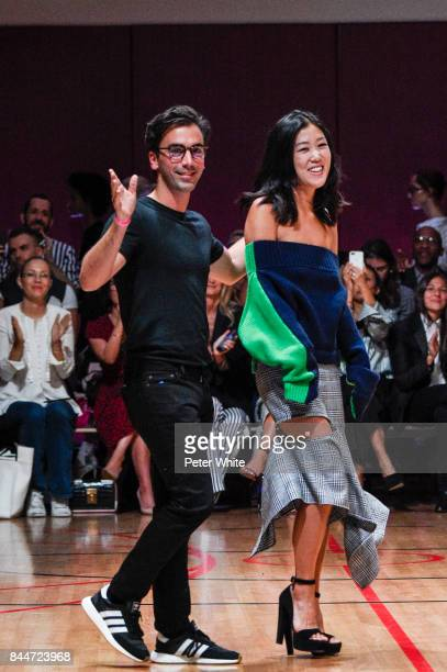 Designers Fernando Garcia and Laura Kim walk the runway at the Monse fashion show during New York Fashion Week The Shows on September 8 2017 in New...