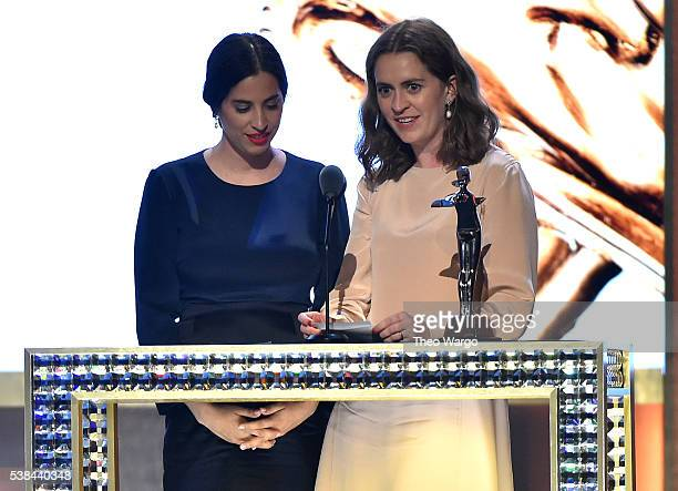 Designers Floriana Gavriel and Rachel Mansur awarded Accessories Designer of the year speak onstage at the 2016 CFDA Fashion Awards at the...