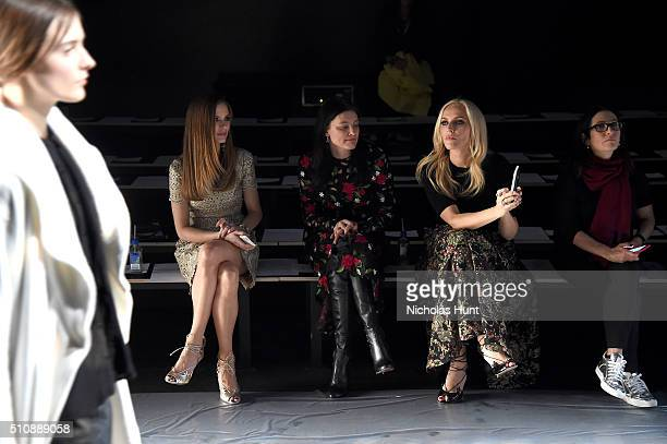 Designers Georgina Chapman Tabitha Simmons and Keren Craig attend the Marchesa Fall 2016 fashion show during New York Fashion Week The Shows at The...