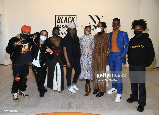 "Designers Gil ""Thermal"" Taveras, Kyle ""Ksace"" Nelson, Sade Mims, Whitney Michel, Akua Shabaka, Rebecca Henry, Chuks Collins and Edvin Thompson attend..."