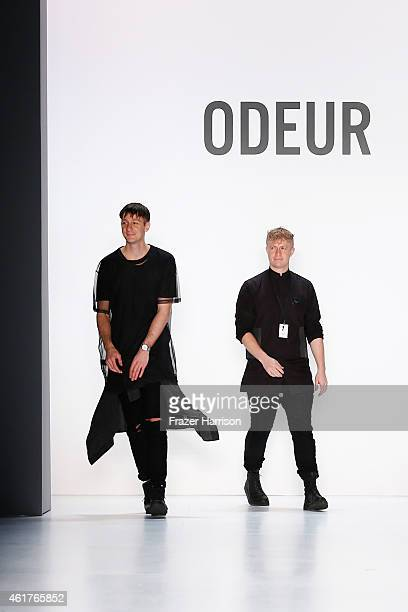 Designers Gorjan Lauseger and Petter Hollstroem walk the runway at the Odeur show during the MercedesBenz Fashion Week Berlin Autumn/Winter 2015/16...