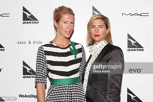 Designers Heidi Middleton and SarahJane Clarke pose backstage at the Sass Bide fashion show during MercedesBenz Fashion Week Fall 2014 at The...