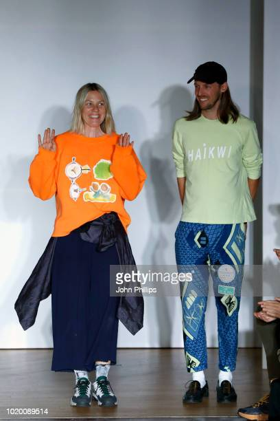 Models with creations of all designers walk the runway at the Bik Bok Runway Award during Oslo Runway SS19 at Bankplassen 4 on August 16 2018 in Oslo...