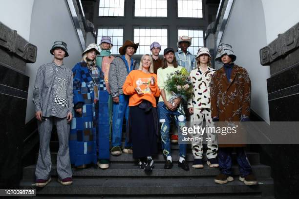 Designers Ida Falck Oien and Harald Lunde Helgesen pose with models after they won the Bik Bok Runway Award during Oslo Runway SS19 at Bankplassen 4...