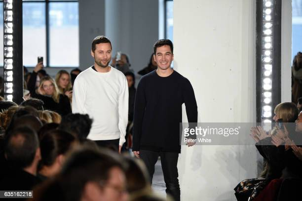 Designers Jack McCollough and Lazaro Hernandez walk the runway after Proenza Schouler show during New York Fashion Week on February 13 2017 in New...