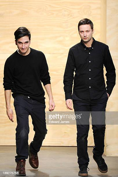 Designers Jack McCollough and Lazaro Hernandez walk the runway at the Proenza Schouler Fall 2012 fashion show during MercedesBenz Fashion Week at on...