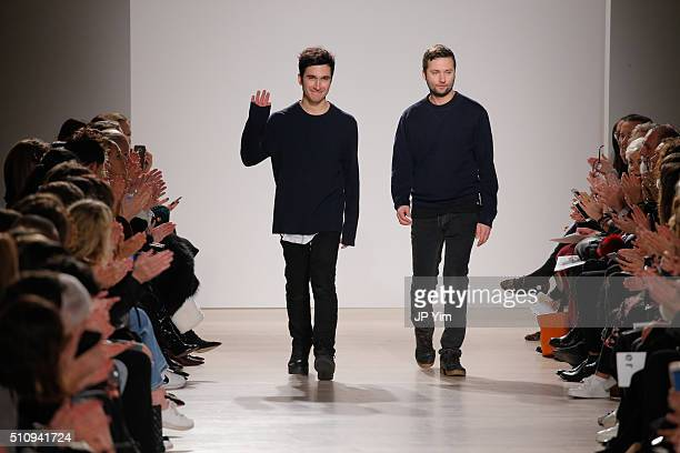 Designers Jack McCollough and Lazaro Hernandez walk the runway at the Proenza Schouler Collection during Fall 2016 New York Fashion Week at the...