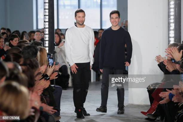 Designers Jack McCollough and Lazaro Hernandez walk the runway for the Proenza Schouler collection during New York Fashion Week The Shows on February...