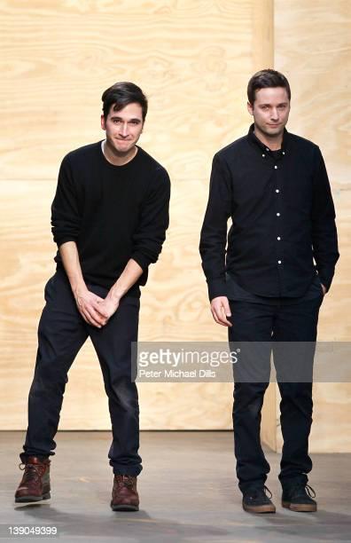 Designers Jack McCollough and Lazaro Hernandezl walk the runway at the Proenza Schouler Fall 2012 fashion show during MercedesBenz Fashion Week on...