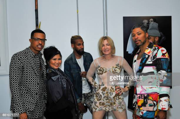 Designers Jamal Sims Sonia Ete guest artist Karen Bystedt and designer Octavius Terry attend Karen Bystedt's 'Kings And Queens' exhibition on March 9...